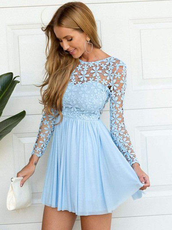 A-line/Princess Scoop Chiffon Long Sleeves Short/Mini Homecoming Dresses