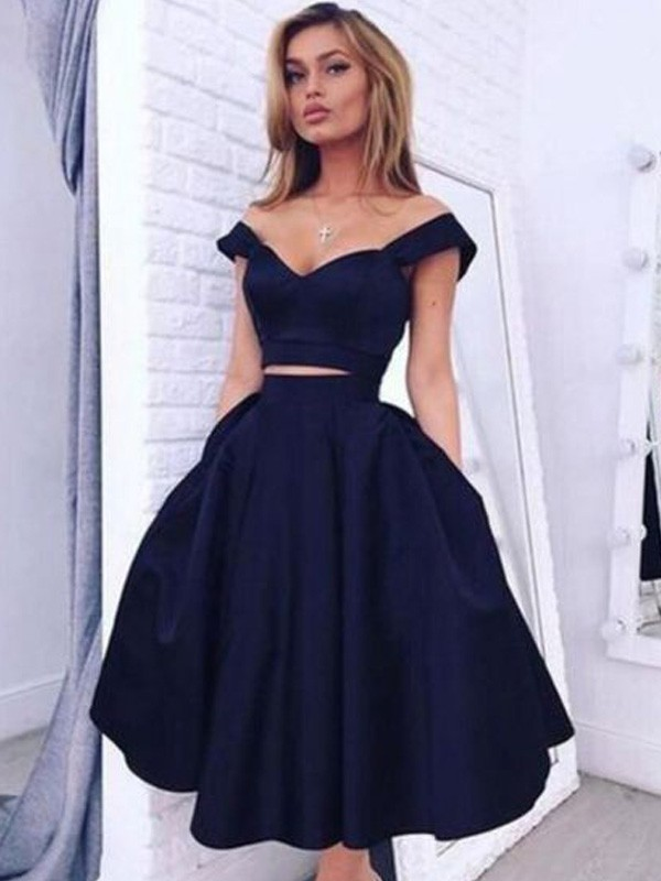 A-line/Princess Off-the-Shoulder Satin Sleeveless Knee-Length Homecoming Dresses