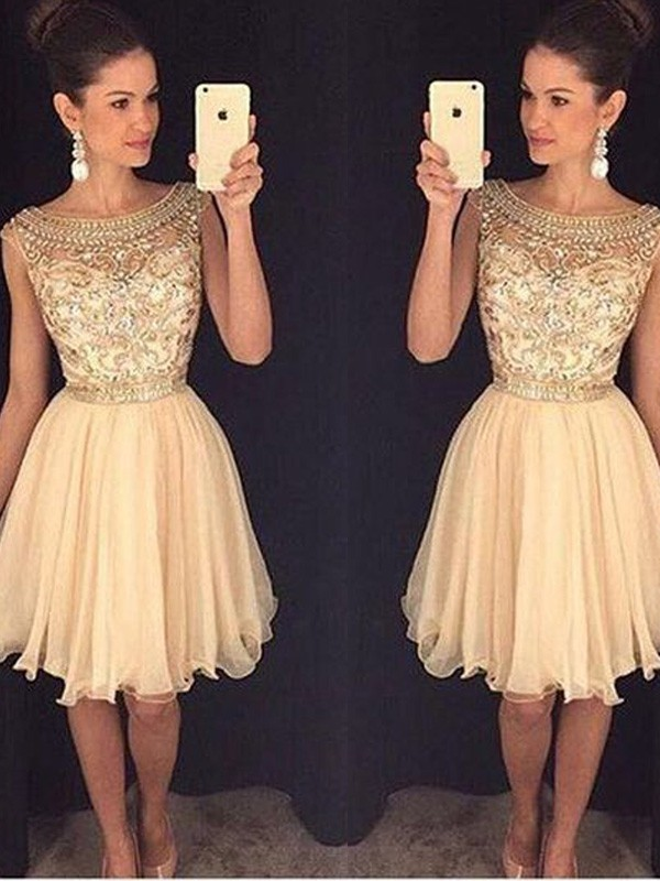 A-line/Princess Scoop Chiffon Sleeveless Short/Mini Homecoming Dresses