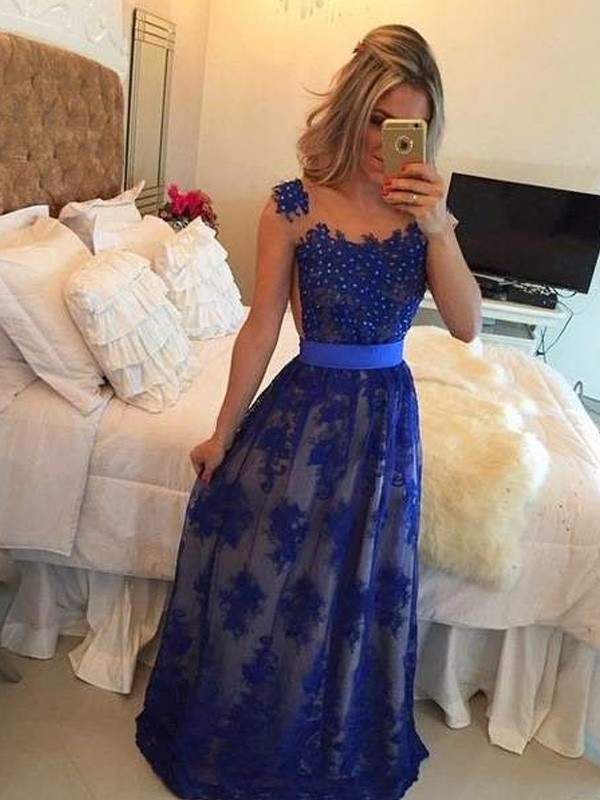Sheath/Column Scoop Tulle Sleeveless Floor-Length Prom Dresses