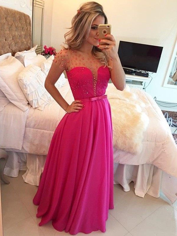 A-Line/Princess Scoop Chiffon Short Sleeves Floor-Length Prom Dresses