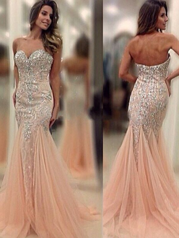 Trumpet/Mermaid Sweetheart Tulle Sleeveless Sweep/Brush Train Prom Dresses