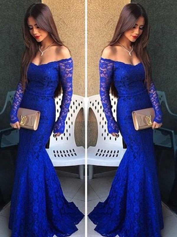 Trumpet/Mermaid Off-the-Shoulder Lace Long Sleeves Sweep/Brush Train Prom Dresses