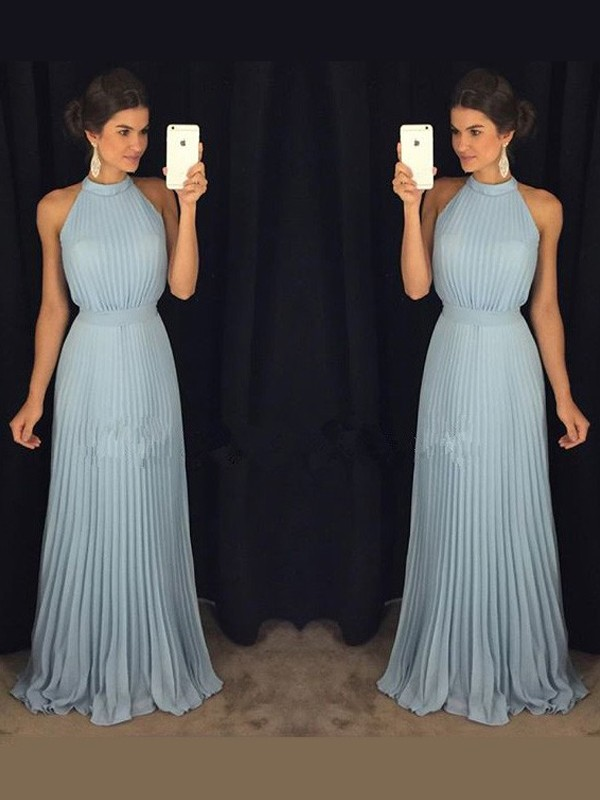 A-Line/Princess High Neck Chiffon Sleeveless Floor-Length Prom Dresses