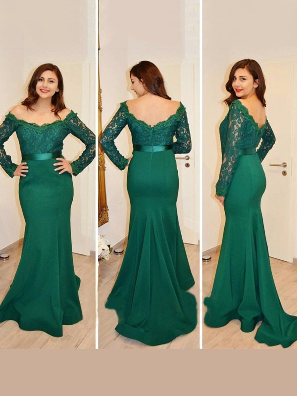 Trumpet/Mermaid Off-the-Shoulder Satin Long Sleeves Floor-Length Prom Dresses