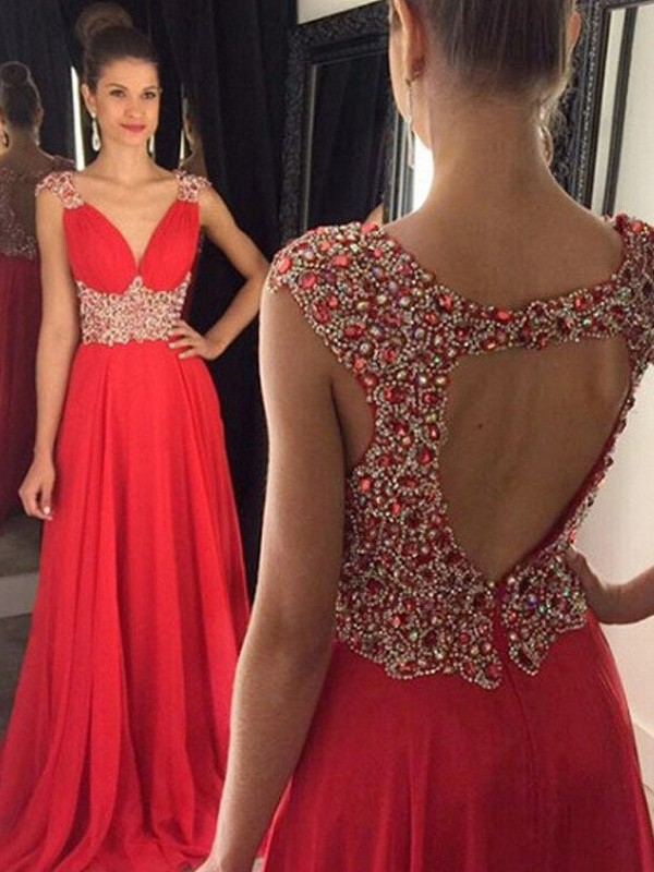 A-Line/Princess V-neck Chiffon Sleeveless Floor-Length Prom Dresses