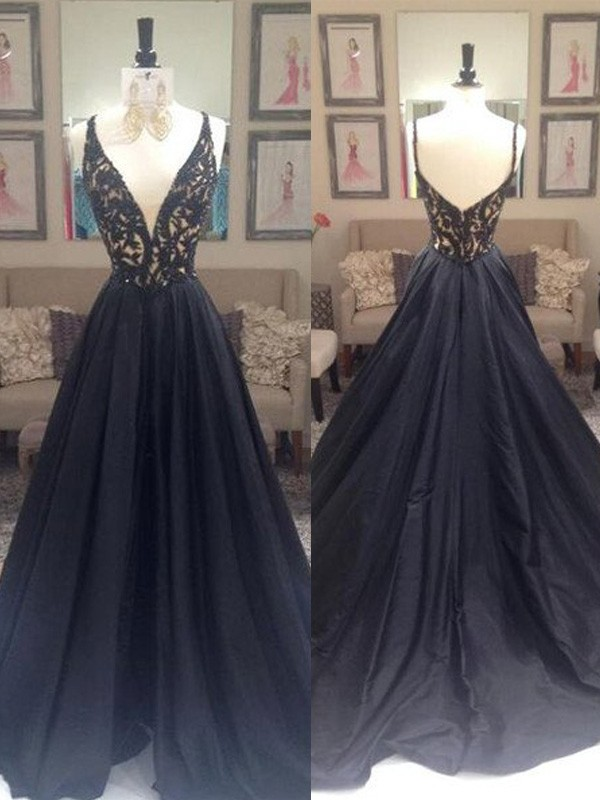 A-Line/Princess V-neck Taffeta Sleeveless Sweep/Brush Train Prom Dresses