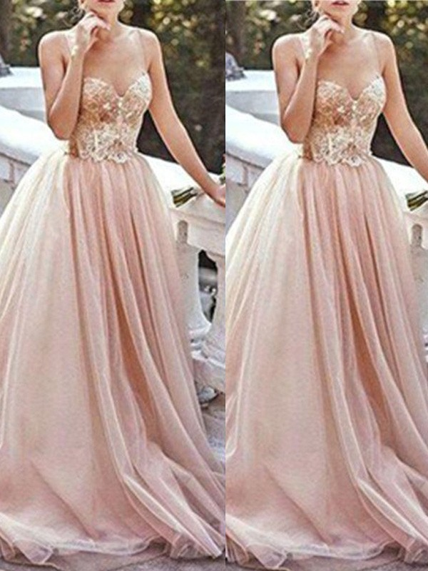 A-Line/Princess Sweetheart Tulle Sleeveless Sweep/Brush Train Prom Dresses