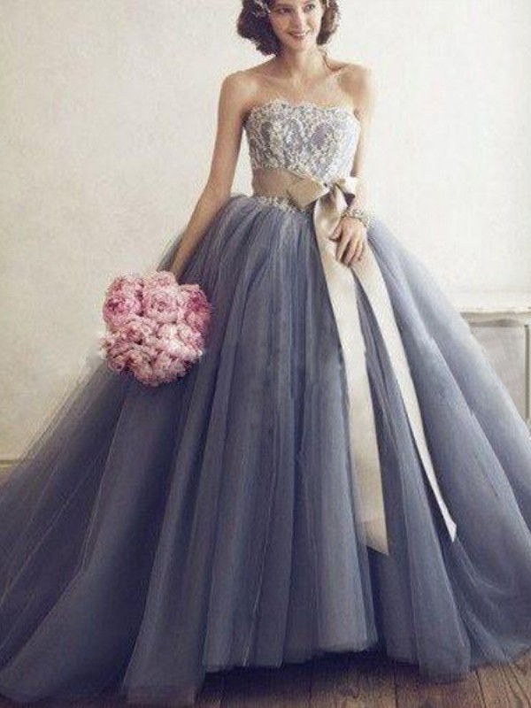 Ball Gown Sweetheart Tulle Sleeveless Sweep/Brush Train Prom Dresses