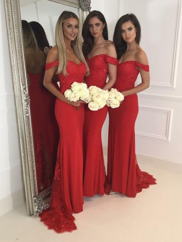 Trumpet/Mermaid Off-the-Shoulder Jersey Sleeveless Floor-Length Bridesmaid Dresses