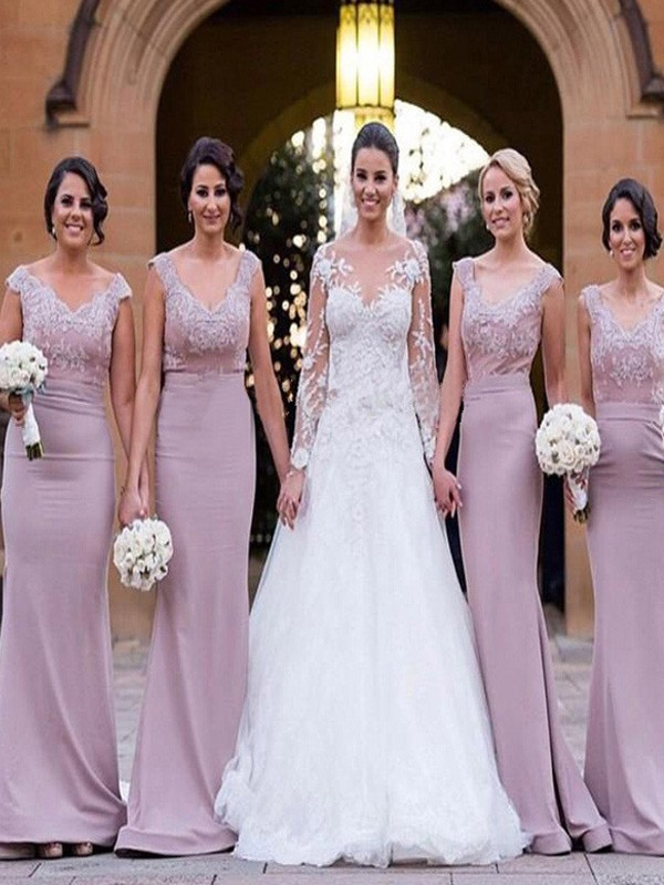 Trumpet/Mermaid V-neck Satin Sleeveless Floor-Length Bridesmaid Dresses