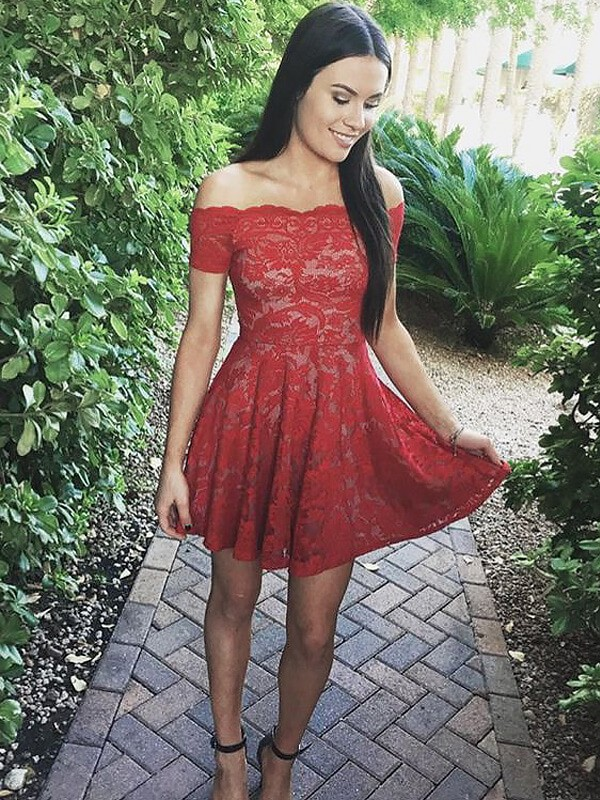 A-line/Princess Off-the-Shoulder Lace Short Sleeves Short/Mini Dresses