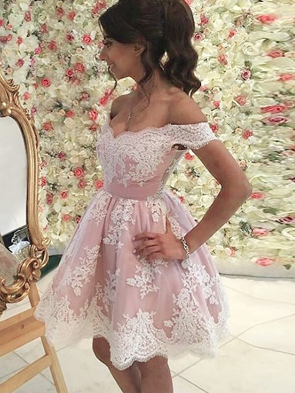 A-line/Princess Off-the-Shoulder Tulle Sleeveless Short/Mini Dresses