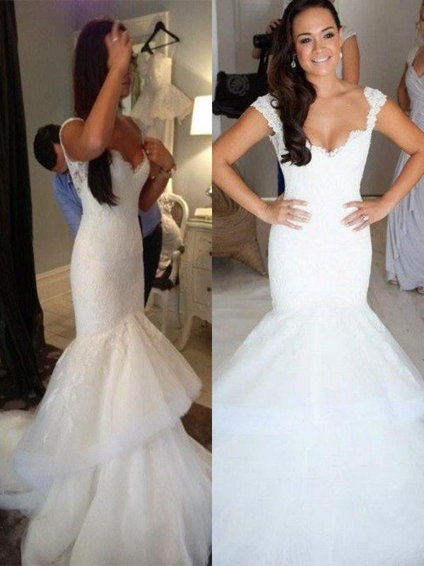 Trumpet/Mermaid Straps Organza Sleeveless Chapel Train Wedding Dresses