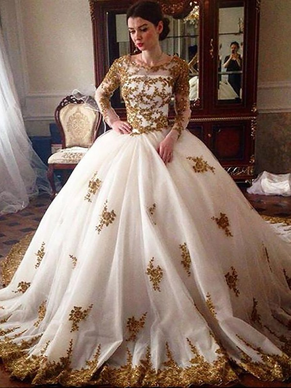 Ball Gown Scoop Tulle Long Sleeves Court Train Wedding Dresses