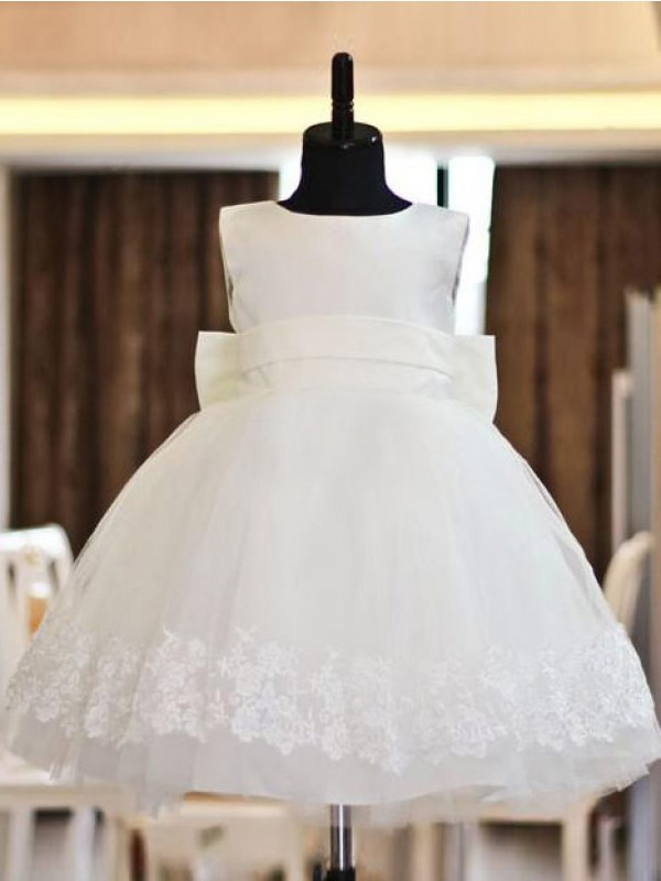 A-Line/Princess Scoop Organza Sleeveless Floor-Length Dresses