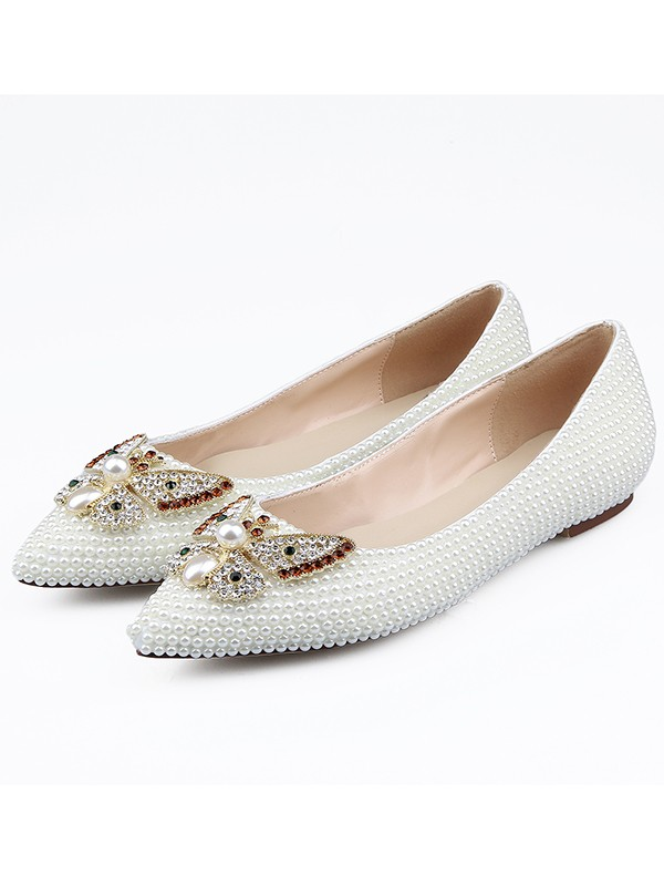 Women's Patent Leather Closed Toe Rhinestones Flat Shoes