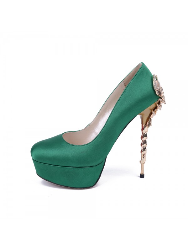 Women's Stiletto Heel Platform Satin Closed Toe With Rhinestone Platforms Shoes