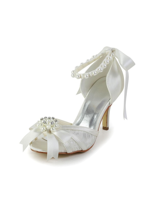 Women's Satin Stiletto Heel Sandals Dance Shoes Pearl