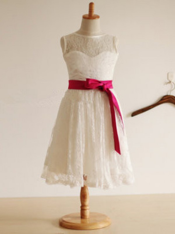 A-Line/Princess Jewel Lace Sleeveless Tea-Length Flower Girl Dresses